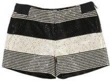 Karl Lagerfeld - pantaloncini - righe - in tweed - paillettes decorative - beige chiaro e nero