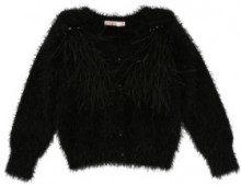 Billie Blush - cardigan - decorato con piume - nero