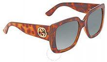 Gucci GG0141S 002, Occhiali da Sole Donna, Marrone (Avana/Green), 53