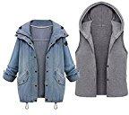 BYD da Donna Giacca Denim Hoodie Cappotto con Cappuccio 2 in 1 Jacket Giacche Jeans Cappotti