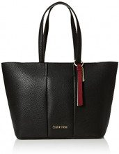 Calvin Klein Jeans City Leather Shopper - Borse a spalla Donna, Nero (Black), 15x30x41 cm (B x H T)