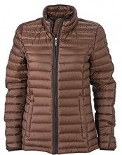 James & Nicholson - Daunenjacke Ladies Quilted Down Jacket, Giacca Donna, Marrone (Coffee/Black), Medium (Taglia Produttore: Medium)