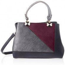 SwankySwans Violet Color Block Handbag - Borse Tote Donna, Nero (Black), 12x28x30 cm (W x H x L)