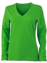 James & Nicholson JN929 Maglia a Maniche Lunghe con Collo a V da Donna, Colore Verde (Lime/Green), Taglia S