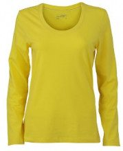 James & Nicholson - Langarmshirt Ladies Stretch Shirt Long Sleeve, Camicia di maternità Donna, Giallo (Yellow), XX-Large (Taglia Produttore: XX-Large)