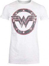DC Comics Wonder Woman-WW Emblem, T-Shirt Donna, Bianco, 42 (Taglia Produttore:Small)