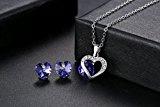 GoSparking viola viola cristallo 18K oro bianco placcato il pendente in lega e orecchini set con il cristallo austriaco per le donne