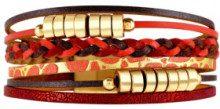 Bracciale polsino Columbus Corte Dorada Roja - pelle - cristalli - rosso - L: 20 cm
