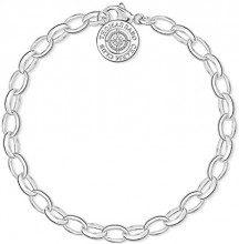 Thomas Sabo Charm Club Bracciale da Donna, Argento 925 e Diamante Palla Bianco, Taglia 17 cm