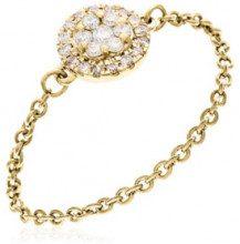Anello Chainette - oro giallo 1.7 g - 23 diamanti larghezza anello: 0.1 cm