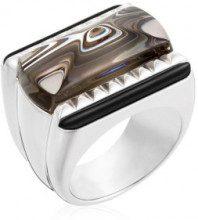 Anello ''Louxor'' - argento 925/1000 26.3 g e cristallo grigio trasparente - l: 0.7 cm