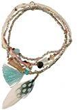 Oro metallo multi fila braccialetto, rockeries, Piuma e tessuto Tassel