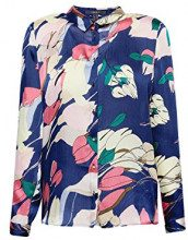 ESPRIT Collection 098eo1f019, Camicia Donna, Blu (Dark Blue 405), 40 (Taglia Produttore: 34)