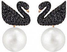 Swarovski Orecchini Jackets Iconic Swan, nero, placcato oro rosa