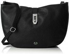 Gerry Weber Round Rings Shoulderbag Lhz - Borse a tracolla Donna, Schwarz (Black), 8x28x41 cm (B x H T)