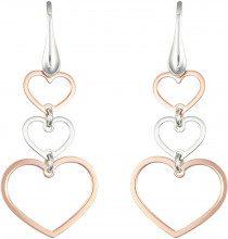 Orecchini cuori in argento 925 rosato per Donna
