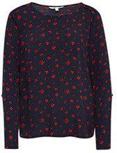 Tom Tailor Denim Bluse, Tunika mit Schulterdetails und Winterlichen Blumen Print, Camicia Donna, Blu (Winterly Flower Prin 13893), X-Large
