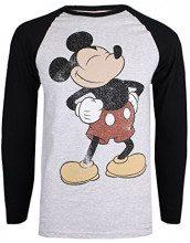 Disney Proud Mickey, Maglietta a Maniche Lunghe Uomo, (Grey/Black BKGY), Small