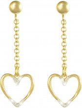 Orecchini cuore in ottone dorato e glitter per Donna