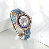 Time100 Orologio in Acciaio INOX per Donna e il pelle di vitello, realizzato con mano, decorato con diamante e zaffiro #W80109L