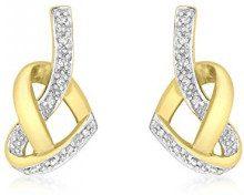 Carissima Gold - Orecchini a Perno da Donna in Oro Giallo 9K (375) con Diamante