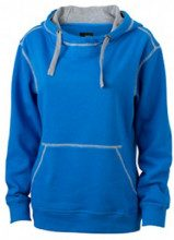 James & Nicholson - Kapuzensweatshirt Ladies' Lifestyle Hoody, Felpa Donna, Blu (cobalt/grey-heather), Small (Taglia Produttore: Small)