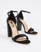 Sandali neri con paillettes e tacco largo