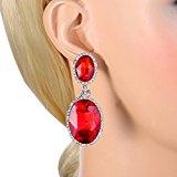 EVER FAITH® silver-tone di cristallo del Chunky doppio ovale a forma di ciondola gli orecchini rosso rubino a colori