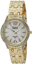 Burgi'-Orologio da donna al quarzo Con quadrante in madreperla, Display analogico e braccialetto in metallo dorato BUR127YG