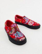 Sneakers in raso rosso a fiori senza lacci