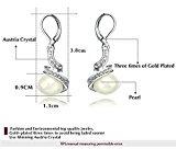 Yoursfs 18K Placcato in oro bianco finto diamante e perla lever Back orecchini da sposa