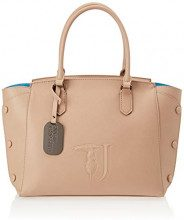 Trussardi Jeans Melissa Shopping Bag Covered Studs, Borsa a Spalla Donna, (Beige On Tone), 32x32x15.5 cm (W x H x L)