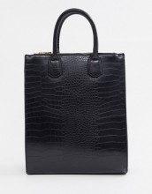 Maxi borsa effetto coccodrillo con doppio scomparto con zip e scomparto per laptop