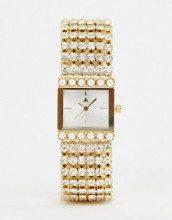 Orologio stile vintage con cinturino con gioielli e perle