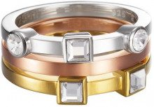 ESPRIT Conjunction tricolor, Anello in acciaio inossidabile con zircone bianco da donna, 10