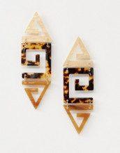 Orecchini pendenti tartarugati con logo in resina