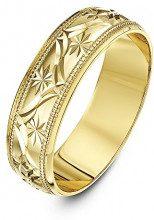 Theia Anello Nuziale in Oro Giallo 9K (375), Super Pesante, a Forma di D, Disegno a Foglie, 4mm - Misura 12