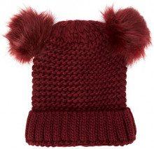 New Look Double Faux Fur, Berretto in Maglia Donna, Red (Dark Burgundy), Taglia Unica