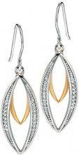 Fiorelli - orecchini a goccia da donna in argento e oro doppia marquise con pavè di zirconi