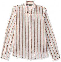 Vero Moda Vmstripy L/S Shirt A, Camicia Donna, Bianco/Blu wide stripe (Snow White), 36 (Taglia Produttore: Small)