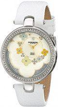 Akribos XXIV da donna, con fiore e diamante ct-Orologio al quarzo, cinturino in pelle