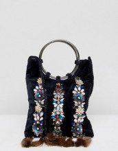 Izabella - Pochette in velluto decorata con manico ad anello