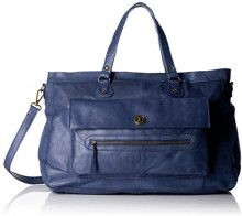 PIECES Pctotally Royal Leather Travel Bag Noos - Borse a spalla Donna, Blu (Indigo), 14.5x33x51 cm (B x H x T)