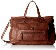 PIECES Pctotally Royal Leather Travel Bag Noos - Borse a spalla Donna, Marrone (Brown Stone), 14.5x33x51 cm (B x H x T)