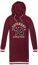 Superdry Tokyo Hooded Sweat Dress, Vestito Donna, Viola (Track Burgundy Vz3), Large (Taglia Produttore:14)