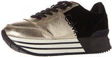 Calvin Klein Carlita Metal Canvas/Flocking, Sneaker Donna, (Gold/Black), 39 EU