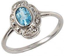 Esse Marcasite-Anello in argento Sterling placcato al rodio, con topazio blu ovale-Anello Art Nouveau, misura P