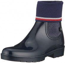 Tommy Hilfiger Knitted Sock Rain Boot, Stivali di Gomma Donna, Blu (Midnight 403), 40 EU