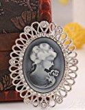 Julia&Joy Jewellery J432 - Spilla con filigrana anticata, stile vintage retrò, con cammeo a incisione e spilla da balia, misura piccola