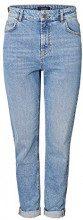 PIECES Pcleah Mom HW Ank Lb110-ba/noos, Jeans Slim Donna, Blu (Light Blue Denim), W31 (Taglia Produttore: Large)